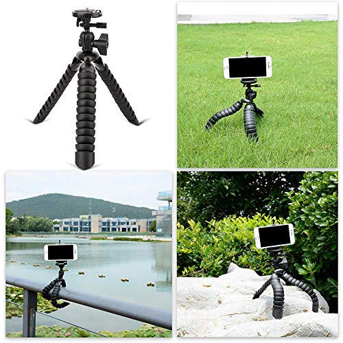 Tairoad Flexible PortableTripod with Phone Holder - A Mini Light Camera Stand for GoPro DSLR, SLR iPhone and Smartphone- Free Gopro Mount