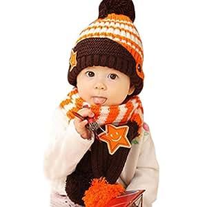 db66555354a09 Dehang - (Set de 2 )Gorro y Bufanda de Lana lista Invierno Otoño Caliente  para Bebés niños niñas - Naranja  Amazon.es  Bebé