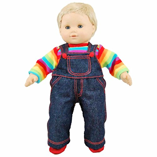 (The Queen's Treasures Twin Denim Overalls and Rainbow Shirt Fits Any 15-inch American Girl Bitty Baby Dolls)
