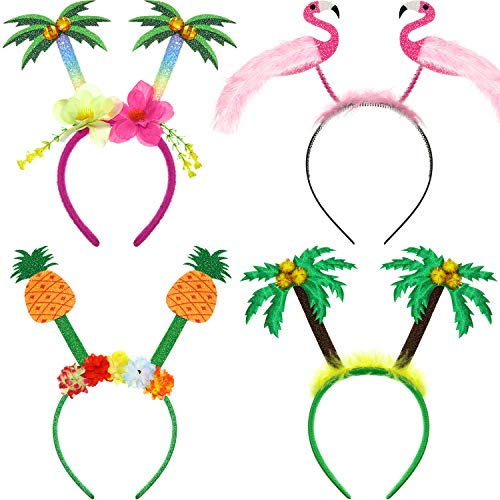 4 Pieces Hawaiian Party Head Boppers Set includes Palm Tree Head Bopper, Flamingo Party Glitter Head Bopper, Pineapple Party Head Bopper