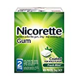 Nicorette Nicotine Gum Fresh Mint 2 milligram Stop Smoking Aid 100 count