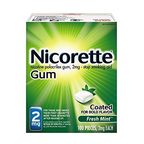 Nicorette Nicotine Gum Fresh Mint 2 milligram Stop Smoking Aid 100