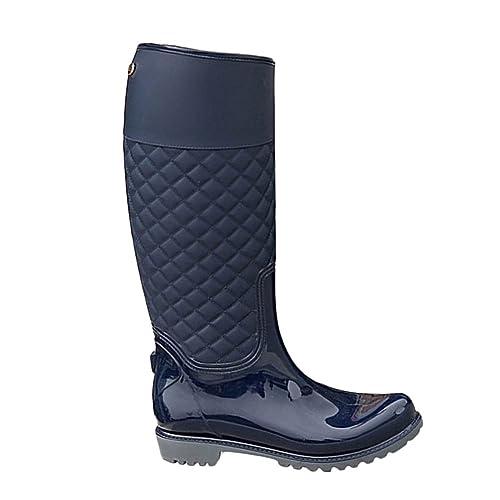 PengGeng Donna Pioggia Scarpe Impermeabile Stivali di Gomma Stile Classico Stivali  da Pioggia Blu 35 c92567249a7