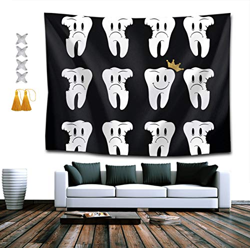 NiYoung Tapestry Mandala Hippie Bohemian Tapestries Wall Hanging Crowned Rotten Teeth Dental Dentist Tapestry Wall Hanging Indian Dorm Decor 40 x 60 Inches]()