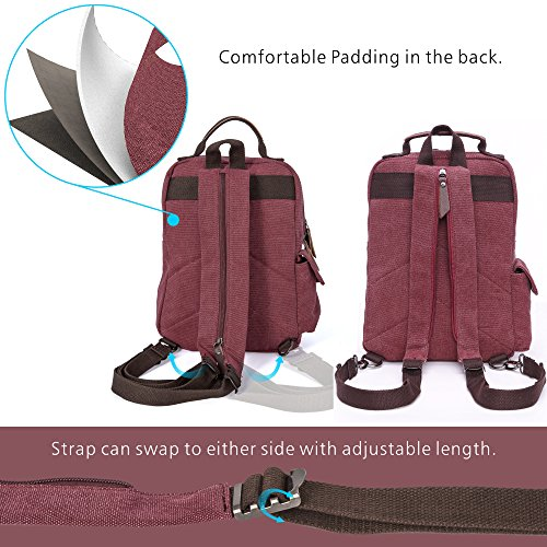 F Bag color Purse Black Double Backpack For Women Use Purplish Canvas Backpack Durable Mini Red Sling TXx5XEwnUd