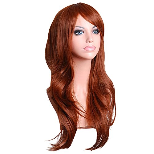 RedBrowm Sexy Long Women Fashion Synthetic Wavy Cosplay Party Full Wigs Brown