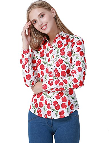 SPAREE Women's Tops Casual Blouses Long Sleeve Work Button Up Dress Shirts, (Small, Apple Red White Green)