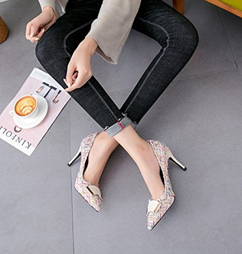 9Cm Shoe Pointed Work Thin Shallow Shoes Suede White MDRW Women High Thin Lady Spring Knitted Temperament Mouth Shoes Single Heels Leisure 37 Heel Elegant Head YEqqwOZxU