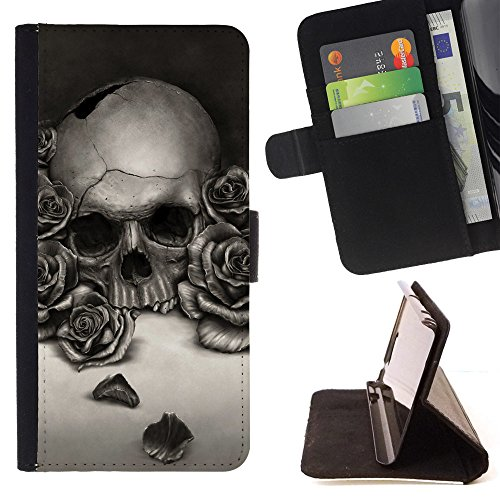 White Skull Rose (Planetar Colorful Pattern Flip Wallet Leather Holster Protective Skin Case Cover For APPLE iPhone 6 / 6S (4.7 inches!!!) ( Romantic Black White Roses Skull ))