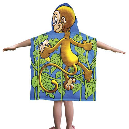 Kids Monkey Cotton Hooded Poncho Bath/Beach Towel