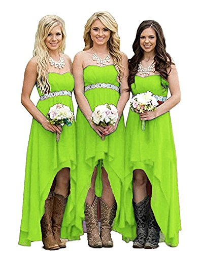 Gotidy Coutry Style High Low Chiffon Wedding Bridesmaid Dresses