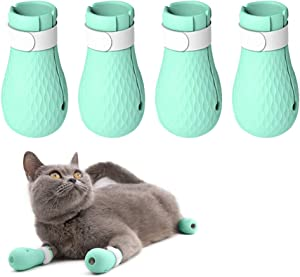 YYYux Silicone Anti-Scratch Cat Shoes Boots Rubber Precaution Scratch Gloves Cat Paw Protector Nail Cover Pet Grooming Scratching Booties for Home Bathing Checking Treatment Shaving