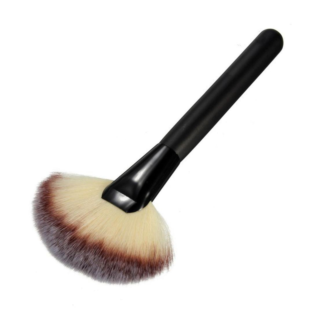 Ninasill Hot Makeup Large Fan Goat Hair Blush Face Powder Foundation Cosmetic Brush (Black)