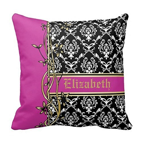 Price comparison product image KarilShop Black White Pink Damask Pattern Gold Floral Linen Throw Pillow Case Cushion Cover Home Sofa Decorative 18 X 18 Inch.