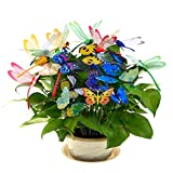 BESTIM INCUK 10 Pack Garden Butterfly Stakes, 12 Pack Garden Dragonfly on Springs, Miniature Fairy Garden Ornaments for Yard Patio Décor, Garden Party, Flower Plant Pot Decoration, Crafts