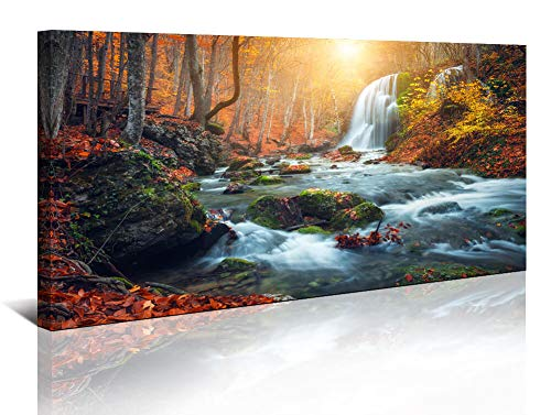 Yiijeah Framed Wall Art for Bedroom Living Room Canvas Print Tree Leaf Sun Stream Waterfall Wildlife Landscape Contemporary Artwork Decor Home Office Wall Decoration