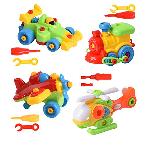 XADP Take Apart Toys Set-Racing Car,Airplane,Helicopter,Train with Educational Construction Tool Engineering Toys for Boys & Girls Age 3+,Take Apart Toys