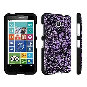 DuroCase ? Nokia Lumia 630 Hard Case Black - (Lace Flower Deep Purple)