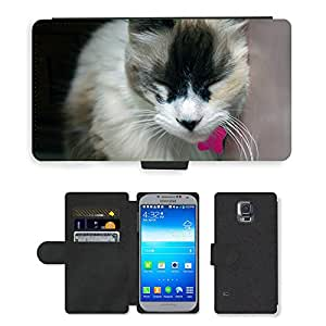 CARD POCKET BOOK CASE PU LEATHER CASE // M00147409 Gata Amigo Animal Animales Gatos // Samsung Galaxy S5 S V SV i9600 (Not Fits S5 ACTIVE)