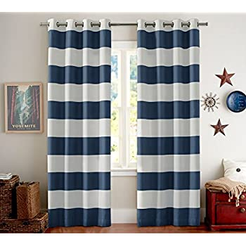 Exceptional Thermal Insulated Grommet Blackout Curtains For Bedroom   Turquoize  Nautical Stripe Pattern Window Treatment Panels Draperies