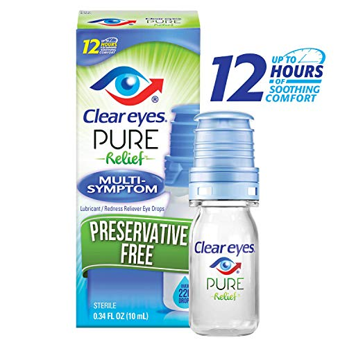 Clear Eyes | Pure Relief | Preservative Free Eye Drops | Multi-Symptom | 0.34 FL OZ