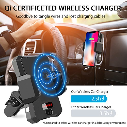 Wireless Car Charger, WiLEES Automatic Qi Wireless Car Charger Air Vent Phone Holder, True Single Hand Car Phone Mounting for iPhone X 8/8 Plus Samsung Galaxy S9 S9 Plus S8 S7/S7 Edge Note 8 5 by WiLEES (Image #1)