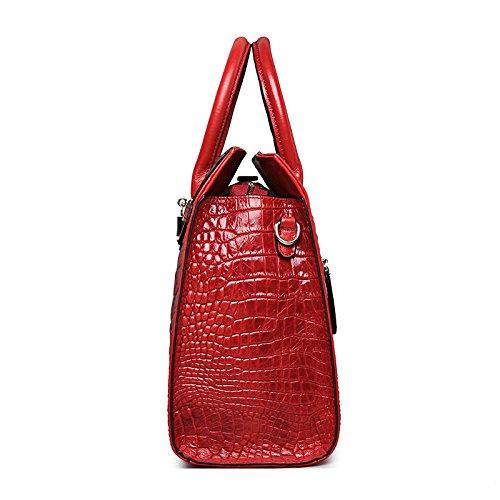 EN Serviette Femme CARTABLE à crocodile sac croco b Rouge motif Cuir à bandoulière Jsix sac besace main Sq0qBwf