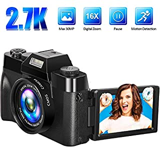 Digital Camera Vlogging Camera Video Camera 2.7K 30MP 16x Digital Zoom 3 Inch 180° Flip Screen Compact Digital Cameras Cameras