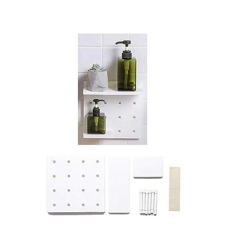 FOOKREN Regale für die Wand küche Badezimmer Wohnzimmer ohne Bohren  Duschablage Ablagen (Weiß)