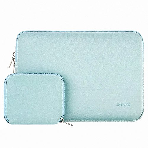 MOSISO Water Repellent Lycra Sleeve Bag Cover Compatible 13-13.3 Inch Laptop with Small Case Compatible MacBook Charger, Mint Green