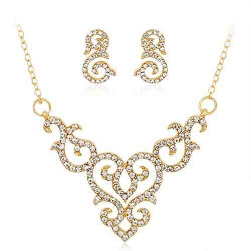 Vintage Hollow Lace Flower Crystal Rhinestone Choker Statement Pendant Necklace Earrings Set (Style02)