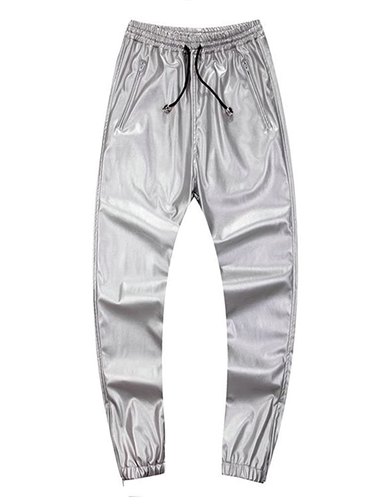 Idopy Men`s Leather Joggers Pants with Drawstring