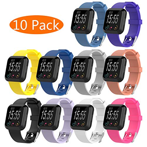 KingAcc Compatible Replacement Bands for Fitbit Versa, Soft Silicone Fitbit Versa Band, Metal Buckle Sport Wristband Strap Women Men (10-Pack, 10 Colors, Small)