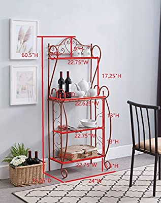 Kings Brand Furniture – Sparta Metal Kitchen Storage Bakers Rack, Orange
