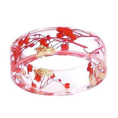 New kingfishertrade-ltd New Arrival Handmade Red Color Dried Flowers Transparent Resin/Plastic Women/Men's Charm Ring