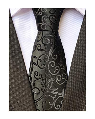 Designer Skinny Ties - Men's Women Boys Black Elegant Designer Jacquard Silk Tie Formal Self UK Necktie
