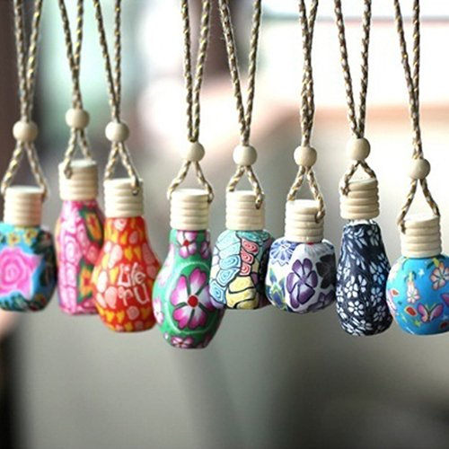 Fragrance Perfume Air Freshener - Polytree Polymer Clay Hanging Perfume Fragrance Bottle Refillable Car Home Air Freshener Bottle