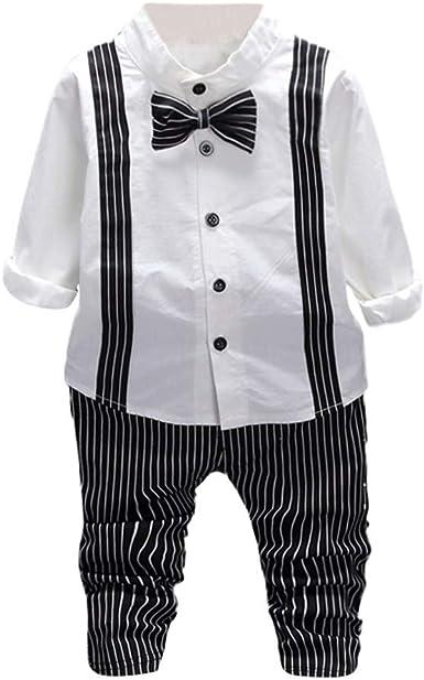 FAMILIZO Conjunto Bebe Niños Bebé Niño Sólido Pajarita Camisa Tops Raya Pantalones Pantalón Trajes Conjunto Camiseta Manga Larga Bebe: Amazon.es: Ropa y accesorios
