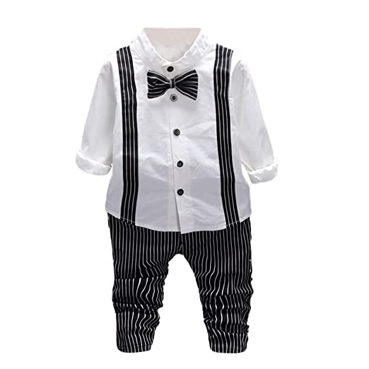 f9aab9098 Baby Boys Outfits Pulison Solid Bow Tie Shirt Tops Stripe Pants Trousers Kids  Clothes Set (