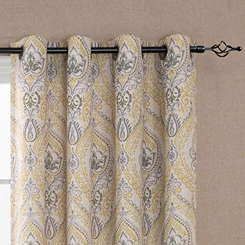 Damask Printed Curtains for Bedroom Drapes Vintage Linen Blend Medallion Curtain Panels, Window Treatments for Living Room Patio Door (1 Pair, 84