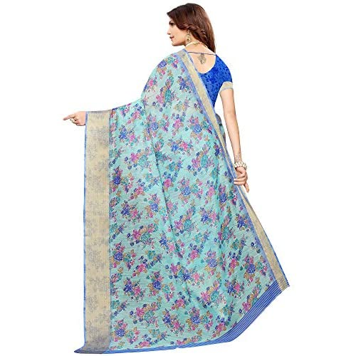 51Xp6 7xAxL. SS500  - Akhilam Women's Printed Linen Saree with Unstitched Blouse Piece (Green_BGBLT80005)