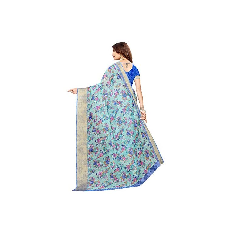 51Xp6 7xAxL. SS768  - AKHILAM Women's Linen Saree With Unstitched Blouse (BGBLT80005 Sarees_Green)