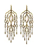 Kendra Scott Emma Shoulder Duster Earrings in Antique Brass Iridescent Glass and Cubic Zirconia