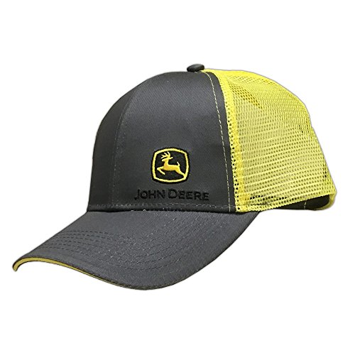 John Deere Grey with Yellow Mesh Backing Snapback Hat - 13080428CH00