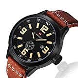 Men's Outdoor Casual Analog Quartz Unique Waterproof Dress Wrist Classic Big Face Fashion Watch with Brown PU Leather Band, Calendar Date Week Window - Black