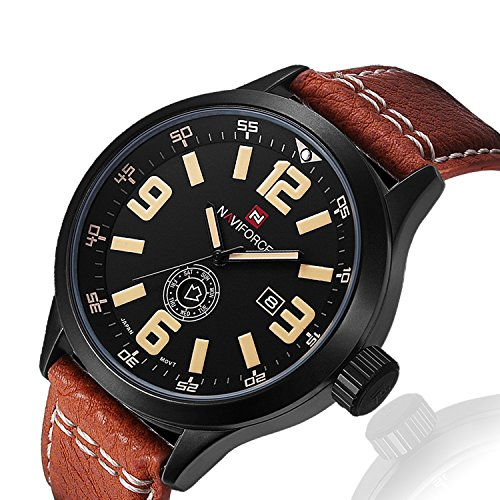 Watch Black Face Leather Band - 6
