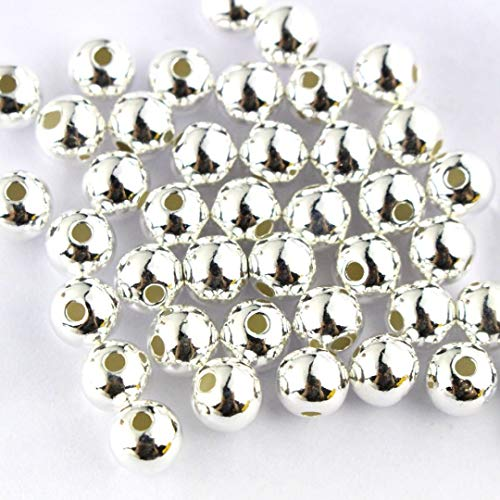 Silver Jewelry Findings - 50pcs Genuine 925 Sterling Seamless Silver Round Ball Beads Spacer for Jewelry Making Findings (4mm)