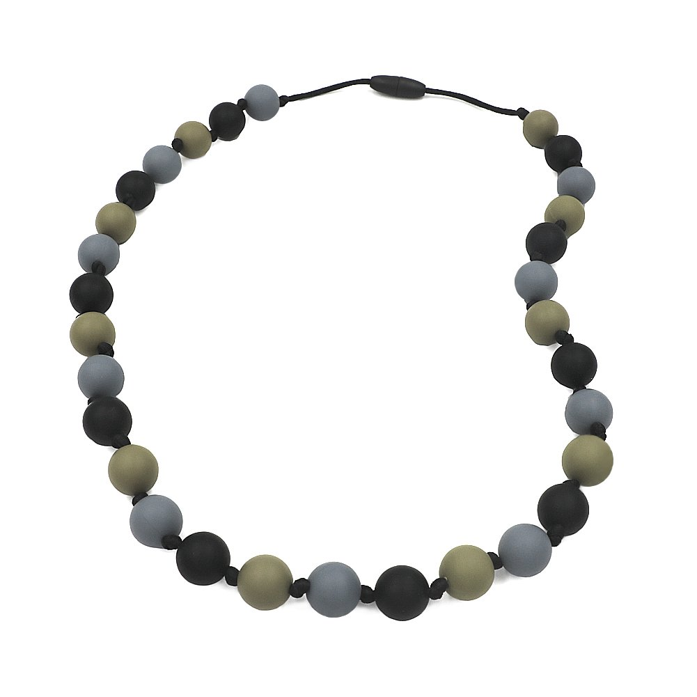 Chew Necklace for Sensory, Oral Motor Aide Autism Chewable Jewelry for Boys - Calms Kids and Reduces Biting/Chewing/Fidgeting Silicone Chewy Toys (Black/Grey/Green)