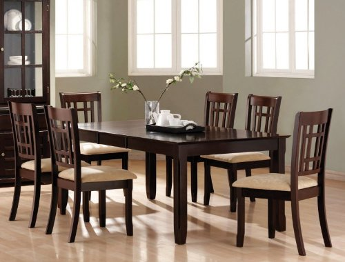 7pc Formal Dining Table & Chairs Deep Cappuccino Finish