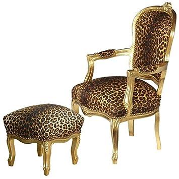 Lounge Set Design Möbel Barock Stil Sessel 2 Er Set Stuhl U0026 Hocker Leopard  Gold